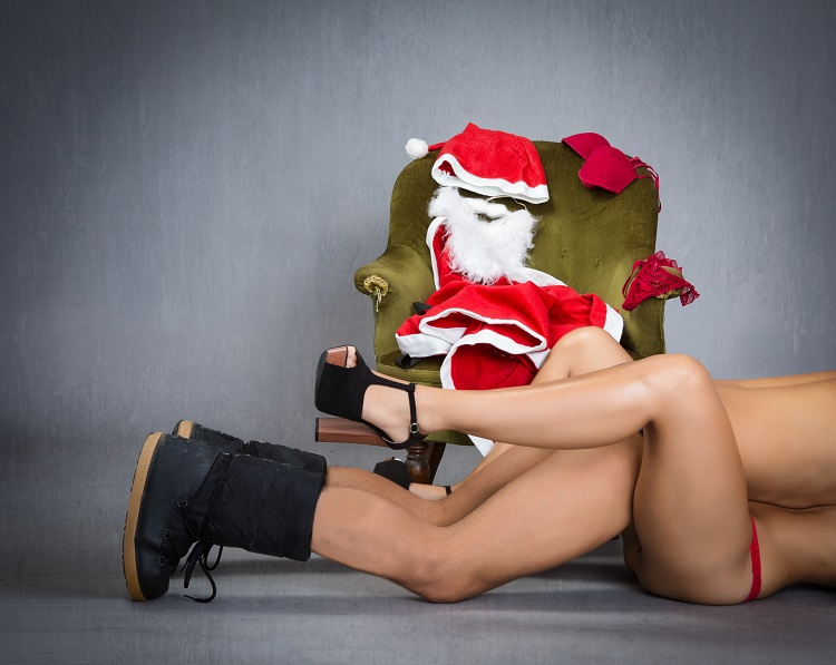 striptease and hot moment for santa claus