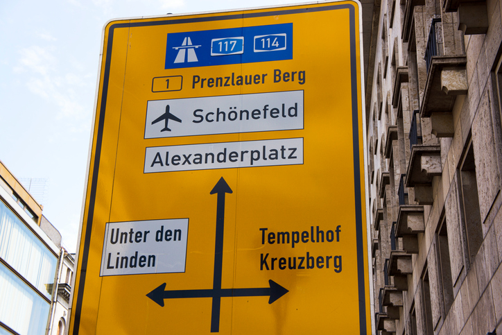 Berlin airport street sign