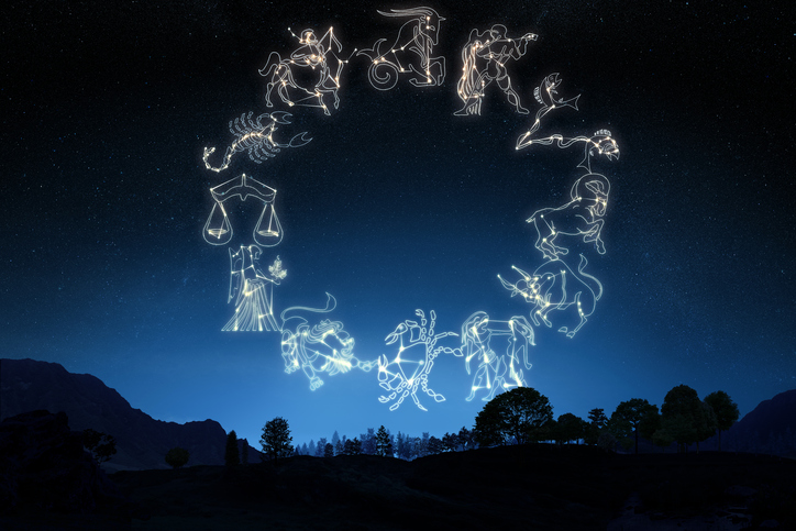 Zodiac Sign's on a gradient sky background