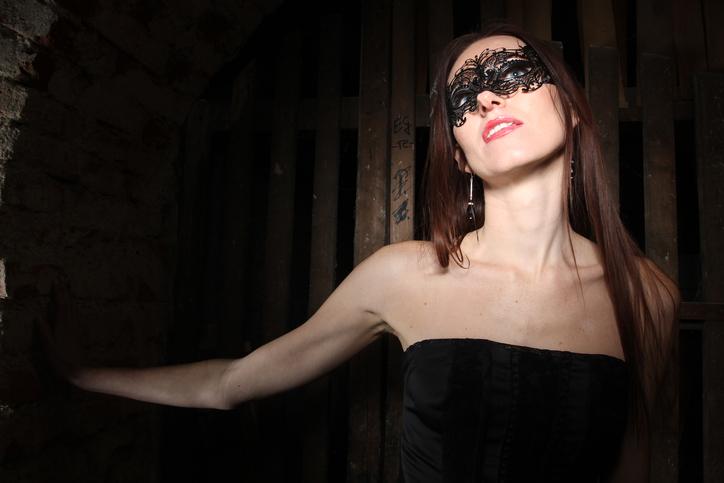 girl in black mask