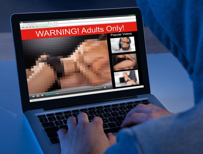 Porn on  laptop