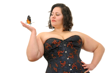 Young beautiful large woman with butterfly