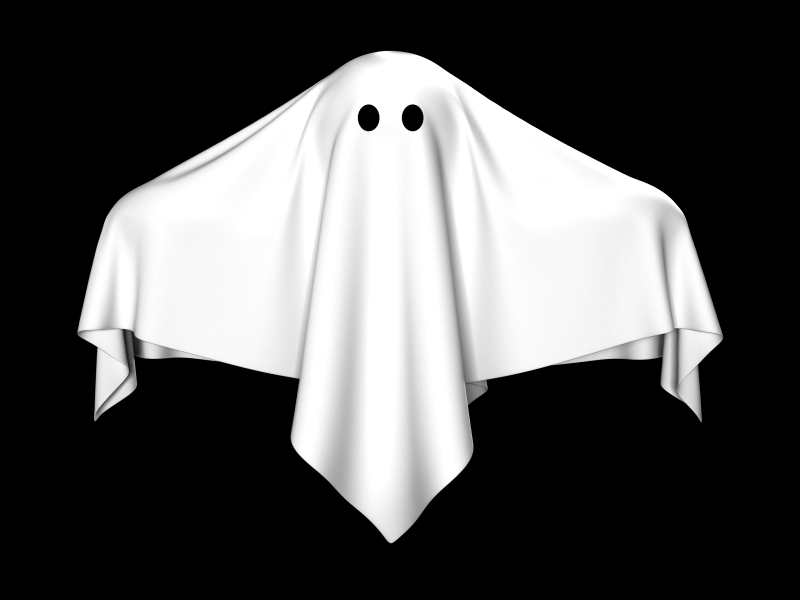White ghost sheet on black background
