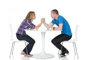 A man and woman at a table