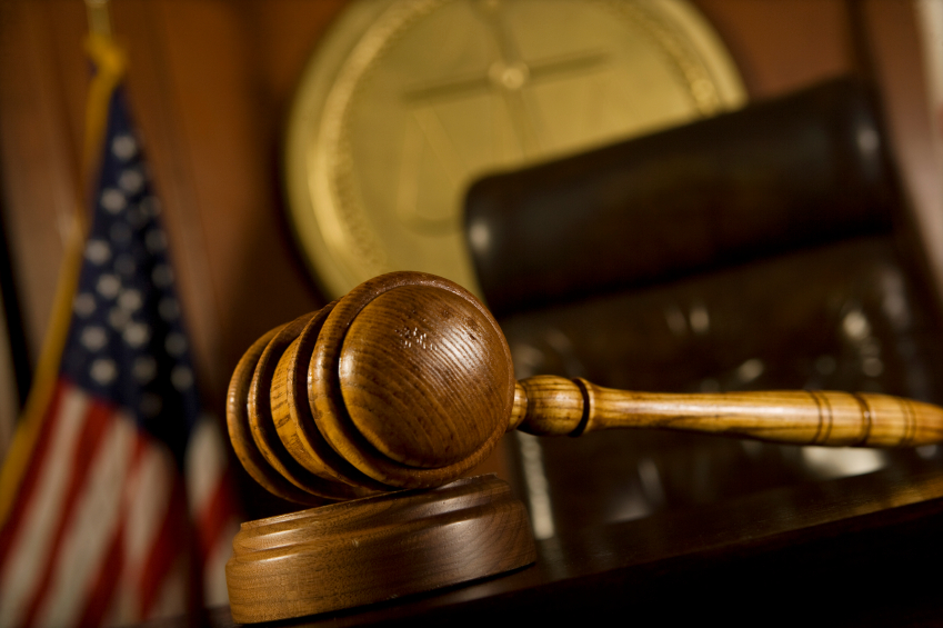 Closeup of gavel in court room