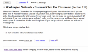 Advert from a man asking for a threesome in return for tickets