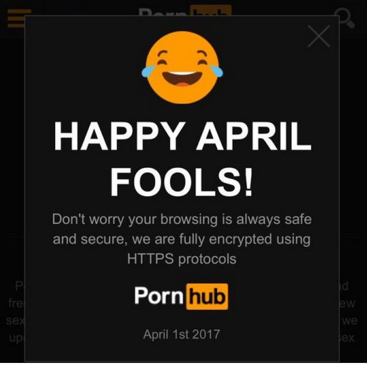 Screenshot of Pornhub admitting it was a prank